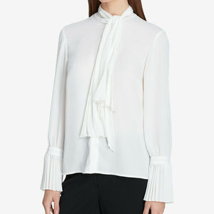 Tahari ASL Tie-Neck Button-Front Blouse, PL